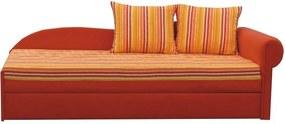 Kanapé ágyfunkcióval, narancs/csíkos minta jobb oldali kivitel, AGA D
