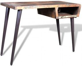 Újrahasznosított fa íróasztal vaslábbakkal