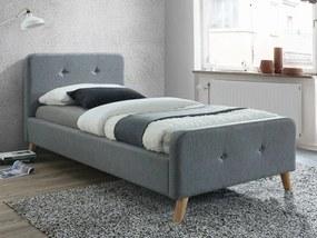 Kárpitozott ágy MALMO 90 x 200 cm szín szürke / tölgy