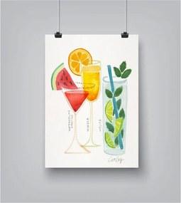 Summer Cocktails poszter, 30 x 42 cm - Americanflat