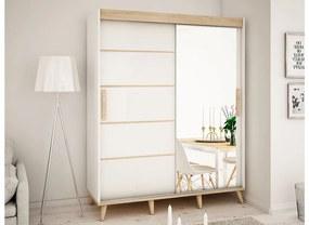 HARALD V2 200 tolóajtós szekrény, 200,5x208x62, fehér/sonoma/bükk
