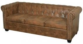 3 személyes barna műbőr chesterfield kanapé