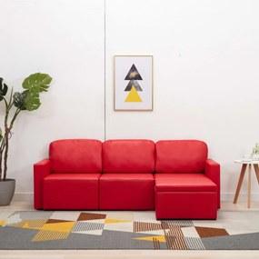 3 személyes piros műbőr elemes kanapé