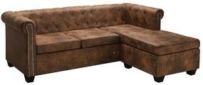 vidaXL L-alakú barna művelúr Chesterfield kanapé