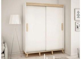 HARALD T 180 tolóajtós szekrény, 180,5x208x62, fehér/sonoma/bükk