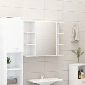 Magasfényű fehér forgácslap fürdőszobai tükör 80 x 20,5 x 64 cm