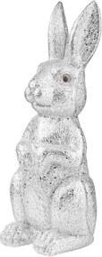 EASTER csillámló dekor nyúl, ezüst 23 cm