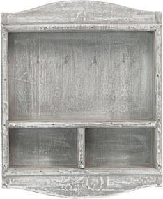 Fa kulcstartó szekrény MSL1585GR - szürke (22x27x6 cm) - vidékies stílusú