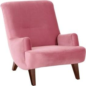 Brandford Suede rózsaszín fotel barna lábakkal - Max Winzer
