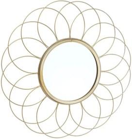 FIORE virág formájú fém tükör, arany Ø 42cm