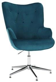 Dizájn fotel, petróleum Velvet szövet/króm, MARLOV