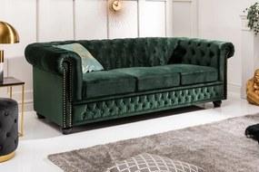 Design 3-szémelyes ülőgarnitúra Chesterfield 205 cm zöld