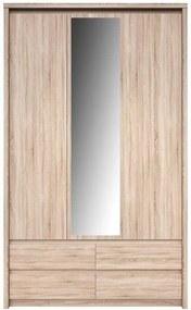 Szekrény tükörrel 3D4S, tölgy sonoma, NORTY TYP 1