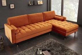 COZY VELVET design bársony kanapé - narancs