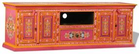 Kézzel festett pink, tömör mangófa tv-szekrény