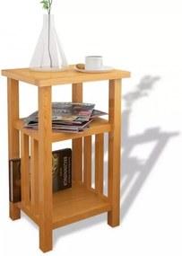 Tömör tölgyfa asztalka újságtároló polccal 27 x 35 x 55 cm