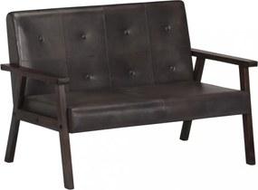 Szürke kétszemélyes valódi bőr kanapé