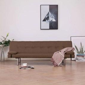 vidaXL barna poliészter kanapéágy két párnával