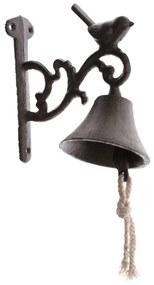 Öntöttvas harang kismadárral, fekete,  17 x 17 x 8 cm