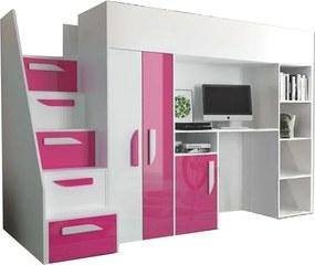 SB PARTY 14 multifunkciós ágy íróasztallal Szín: Rózsaszín