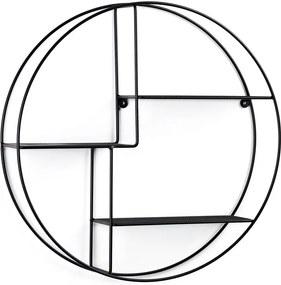 Fekete kerek fali polc, ø 55 cm - La Forma