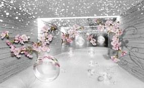 Fotótapéta - Varázslatos 3D-s alagút virágokkal (254x184 cm)