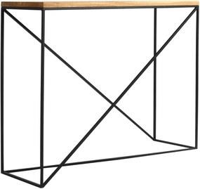Memo konzolasztal fekete konstrukcióval és tölgyfa asztallappal, szélesség 100 cm - Custom Form