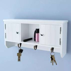 Fali ajtós kulcs- és ékszertartó szekrény kampókkal