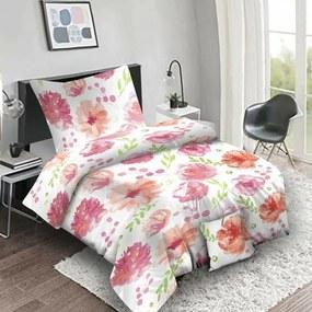 Flores pink pamut ágynemű, 140 x 200 cm, 70 x 90 cm, 40 x 40 cm