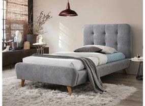 STEVE kárpitozott ágy + ágyrács , 90x200, szürke/tölgy