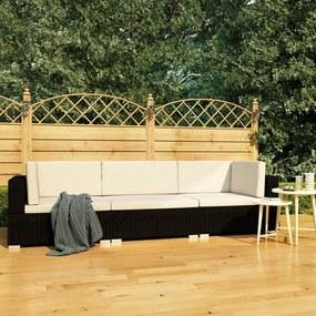 vidaXL 3 darabos fekete polyrattan kerti ülőgarnitúra párnákkal