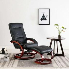 Fekete állítható háttámlás műbőr fotel lábzsámollyal