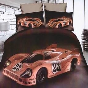 barna színben sportautó mintás pamut ágyneműhuzat 3-reszes