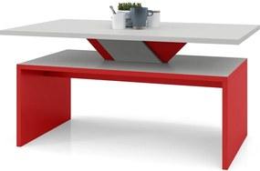 SISI szürke kő + piros, dohányzóasztal