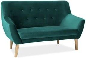 Kétszemélyes kanapé zöld bársony/bükk NORDIC 2 VELVET