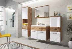 LABA fürdőszoba összeállítás mosdóval, tölgy/magasfényű fehér