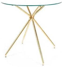 AMALIA kerek étkezőasztal, 80x76x80, üveg/arany