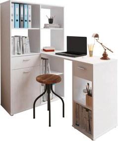 Sarok PC asztal könyvespolccal, fehér, MINESON