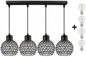 Crystal Ball állítható függőlámpa fekete 4x E27 + ajándék LED izzó