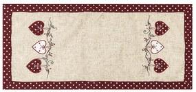 Szívecske karácsonyi abrosz, pöttyös, piros, 40 x 90 cm, 40 x 90 cm