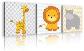 Vászonkép 3 darabos, Állatok, 3 db 25x25 cm méret