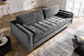 COZY VELVET design bársony kanapé - 225cm - szürke