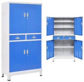 vidaXL 4 ajtós szürke/kék fém irodaszekrény 90 x 40 x 180 cm
