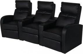 3 személyes fekete dönthető támlájú műbőr fotel