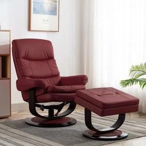 Bordó műbőr és hajlított fa dönthető fotel
