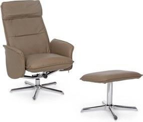 CORA taupe műbőr dönthető fotel lábtartóval