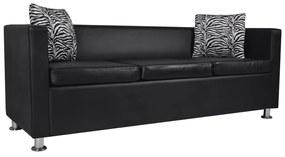 vidaXL fekete 3 személyes műbőr kanapé