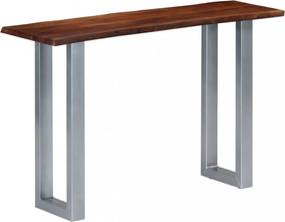 Tömör akácfa és fém tálalóasztal 115 x 35 x 76 cm