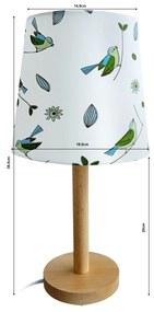 Asztali lámpa, fa/anyag madár minta, QENNY TYP 7