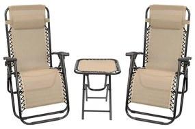 Aldabra 9012, 2 db zéró gravitációs kerti szék, asztallal, bézs színben